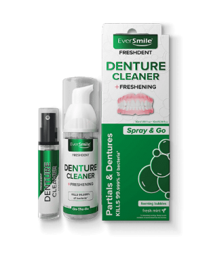 EverSmile FreshDent is a patented, deep cleaning, on-the-go denture and partial cleaner that kills bacteria and freshens dentures and partials